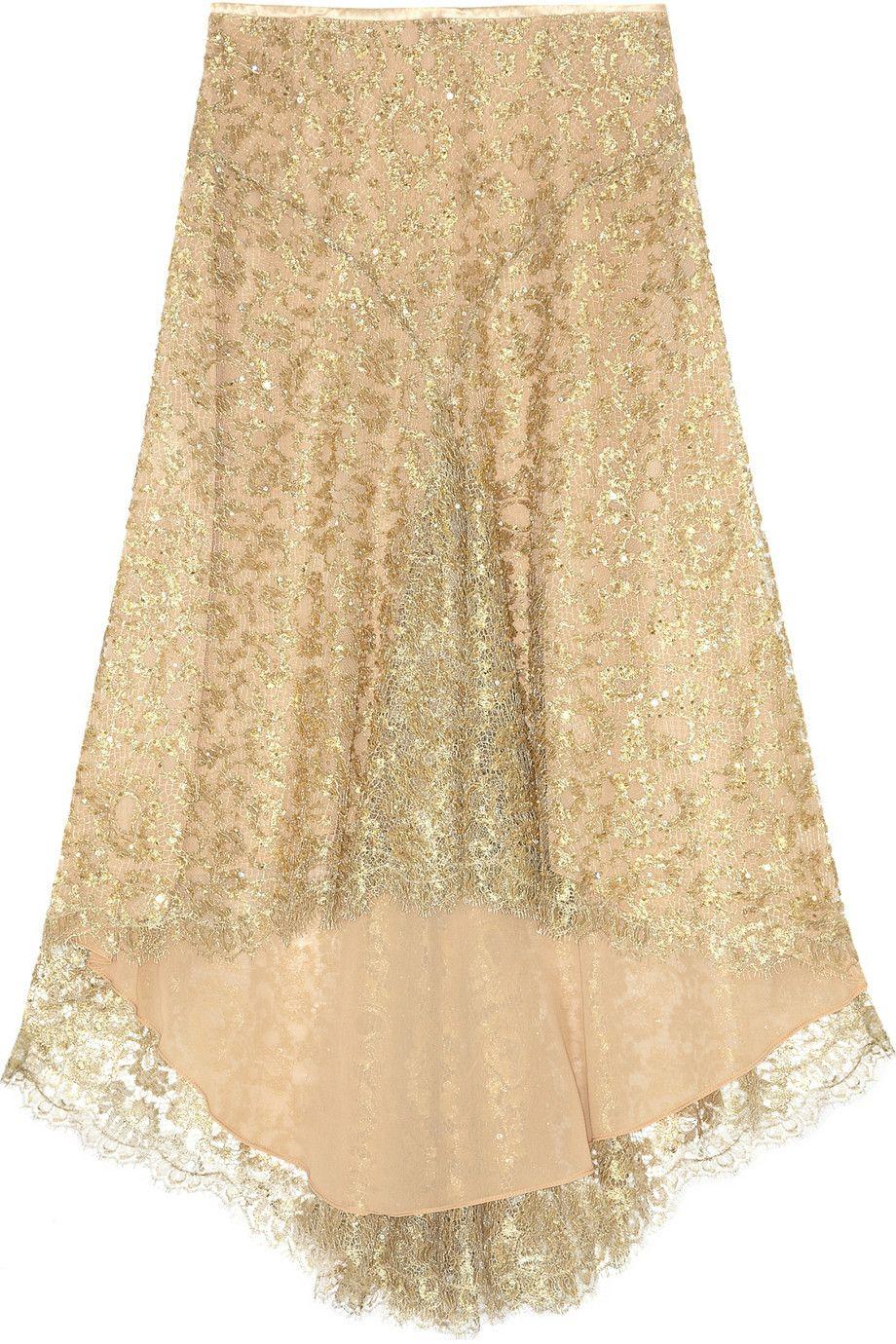 Michael kors bead and sequinembellished metalliclace skirt my
