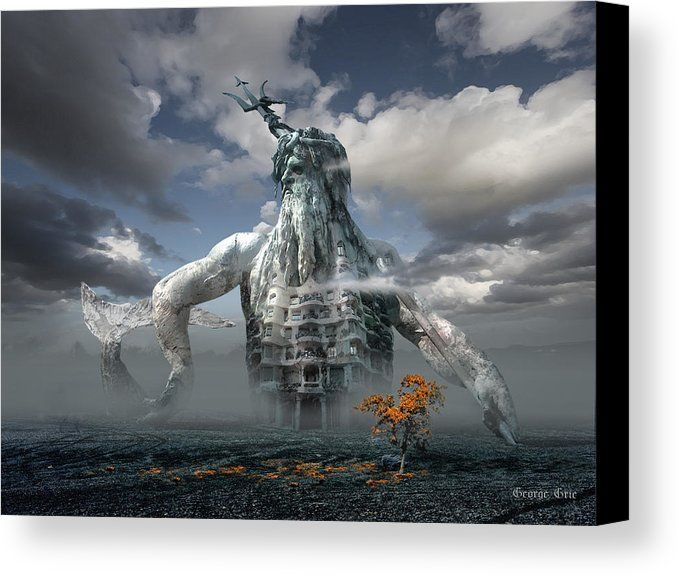 Modern Home Decorationr Art Fantasy Poseidon oil painting HD Printed on canvas