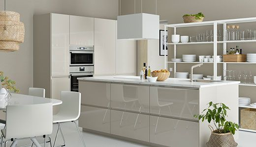 METOD kitchen with VOXTORP high gloss front beige / cream color ...
