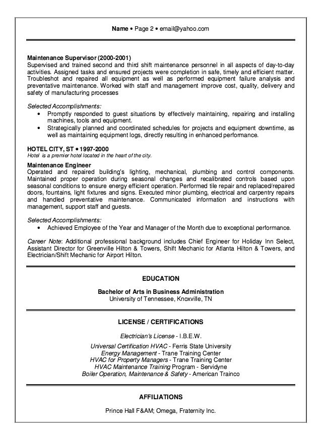 hotel maintenance resume sample