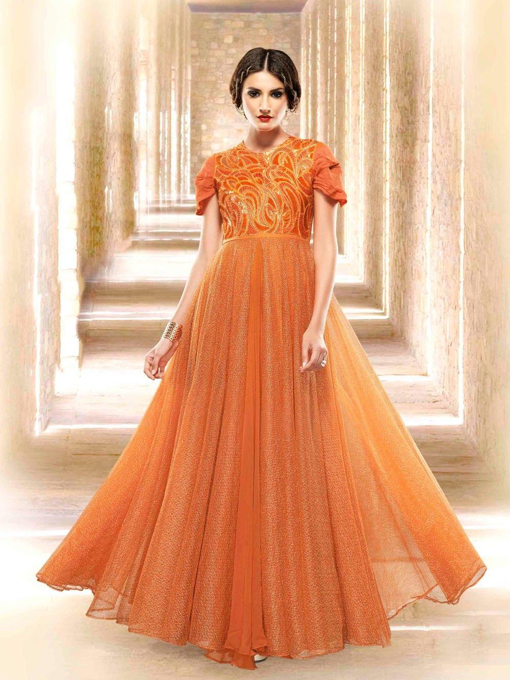 Orange Full Length Dresses