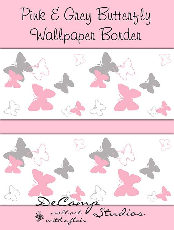 Pink And Grey Gray Butterfly Wallpaper Border Wall Art Decals For Baby Girl  Nursery And Childrens Room Decor.