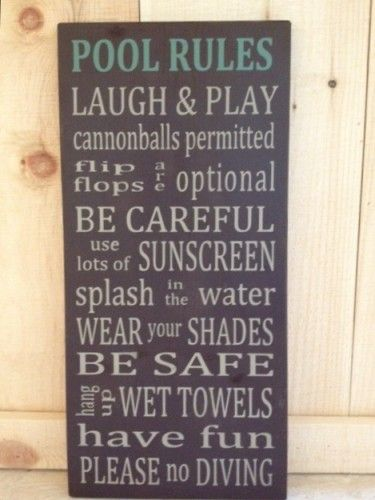 Swimming Pool Plaques Signs Wall Decor Pool Rules Word Art Typography Wood Sign 115 X 24 Brown Any Age