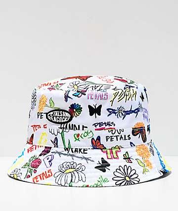 Petals And Peacocks Drawing Board White Bucket Hat Zumiez Bucket Hat Fashion Cute Hats Cool Bucket Hats