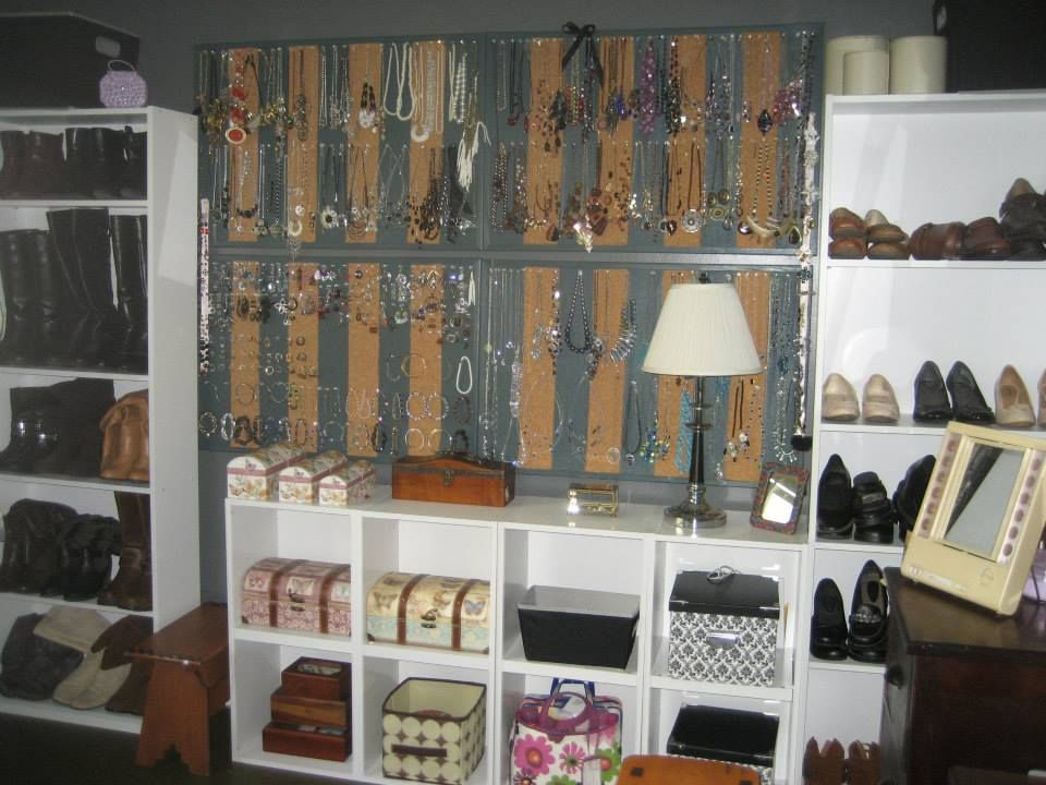 Bookshelves into Shoe Rack & Painted Cork Board for Jewelry Storage/Display