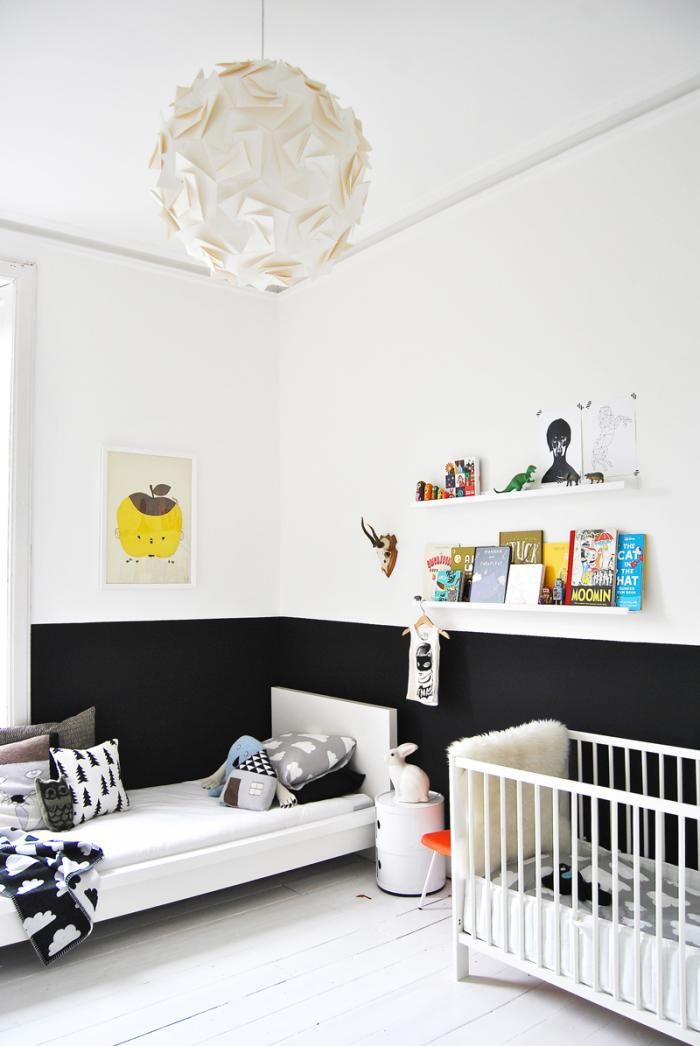 Like this half Black/half white wall for my older daughter's room...the best of both worlds for a girl that wants black walls!