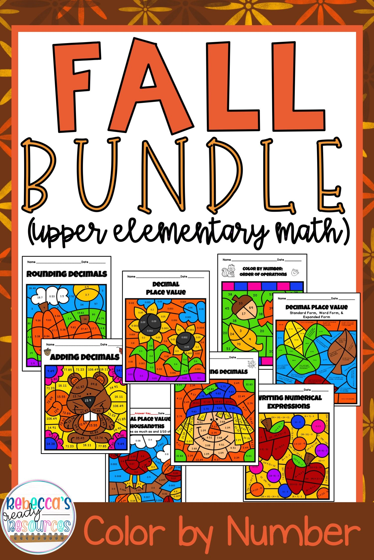 5th Grade Math Worksheets Fall Color By Number Bundle In