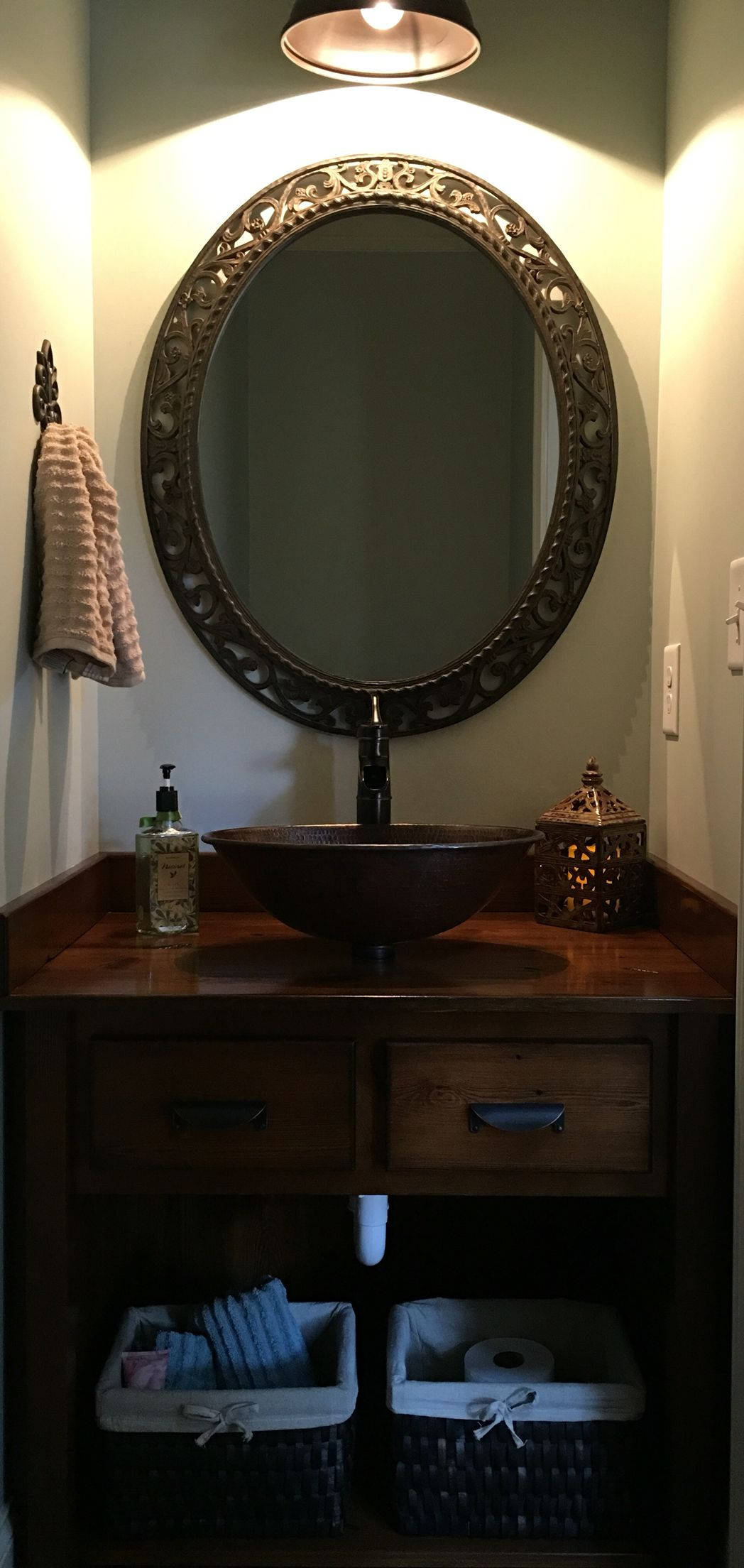 Custom vanity from 100 year old reclaimed pine with copper vessel ...