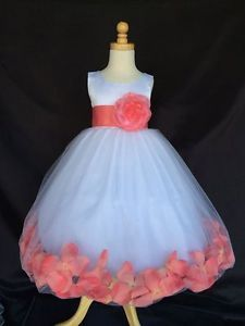 ddf53eda26e Coral Rose Petal Dress White Satin Tulle Flower Girl Wedding Summer Easter   34