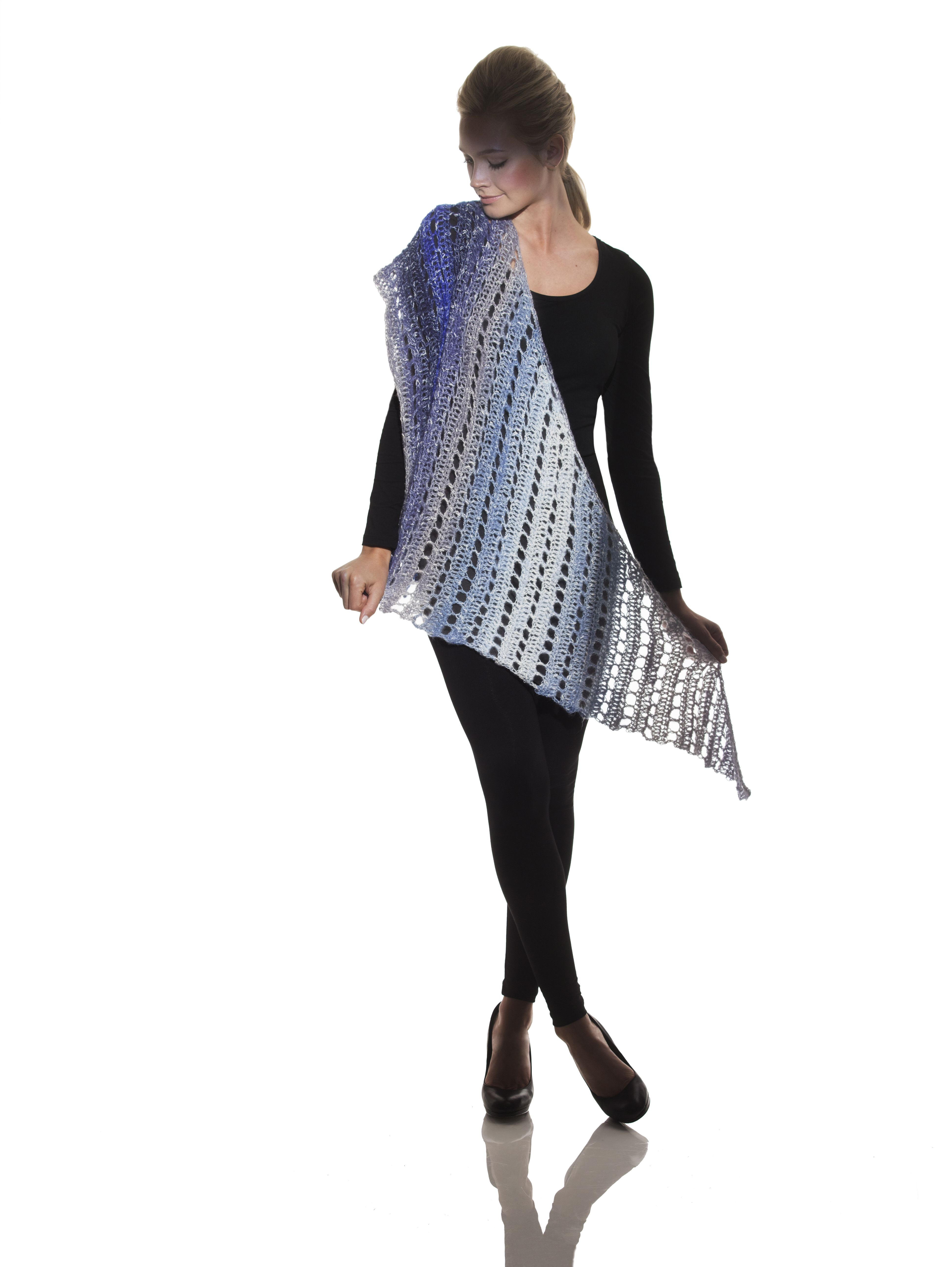 Just one ball of yarn makes a gorgeous shawl with Lion Brand Shawl ...