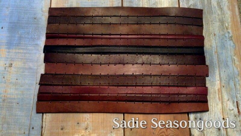 Finally, a cool upcycle project for HIM! This mat is made from repurposed leather belts...masculine, rugged, gorgeous! Perfect for his dresser- keeps the top from getting scratched. Thrift store, here I come! #sadieseasongoods