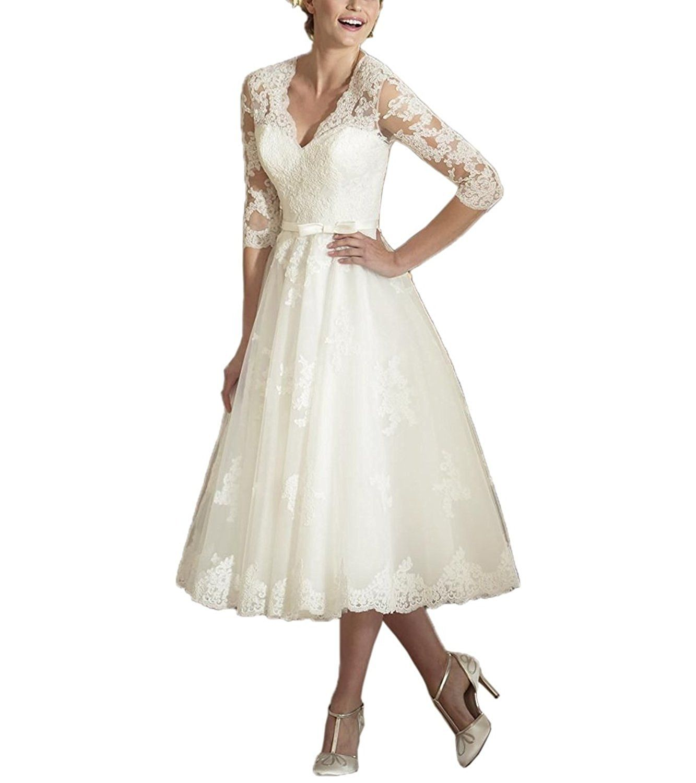 Abaowedding womenus v neck long sleeves tea length short wedding