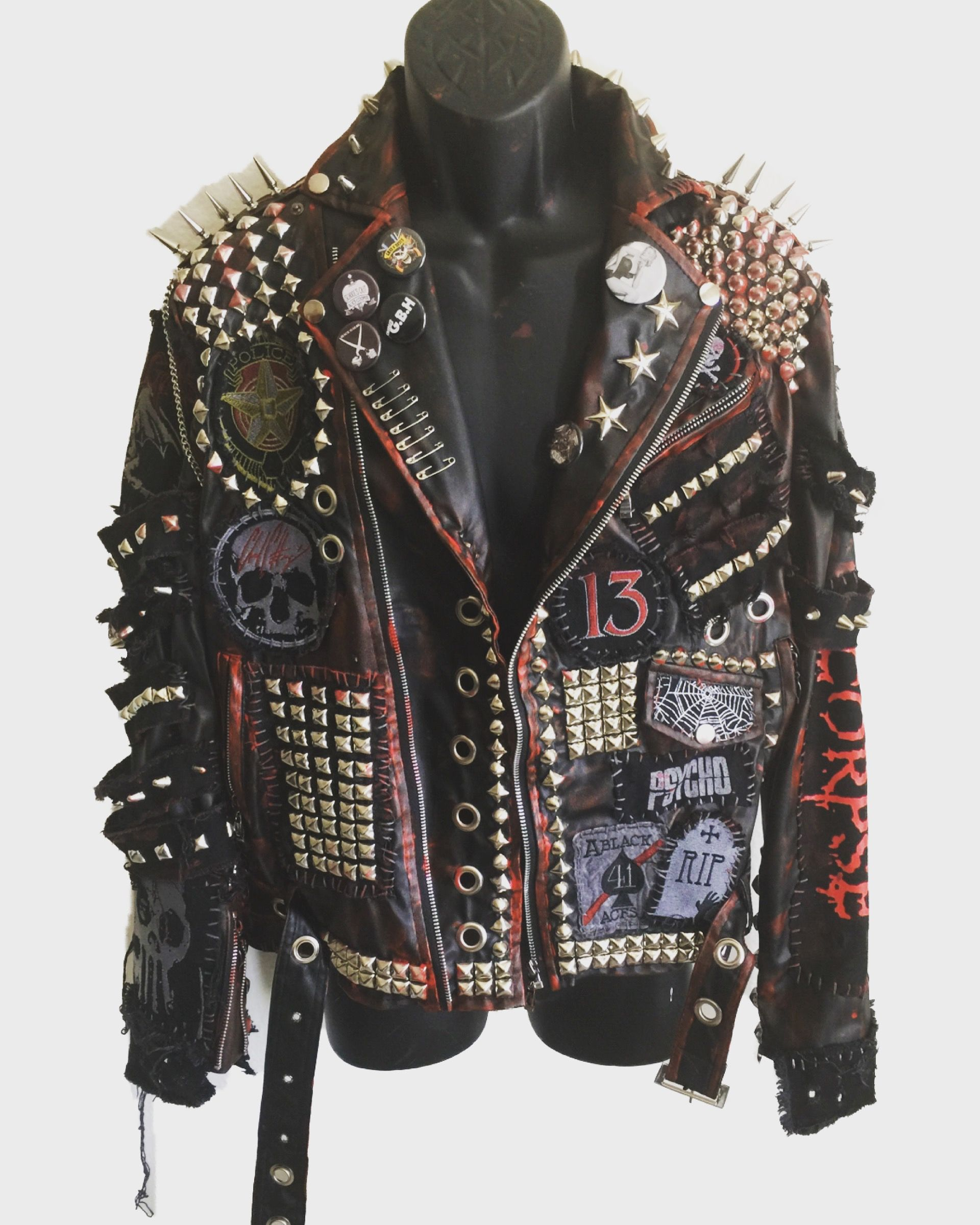 Psycho Jacket By Chad Cherry Etsy Spiked Leather Jacket Custom Leather Jackets Studded Leather Jacket [ 2400 x 1920 Pixel ]