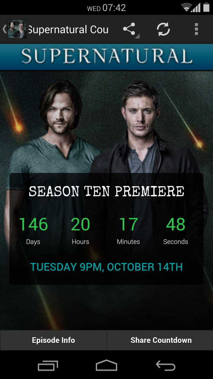 #Supernatural Hellatus begins. Season Ten Premiere - October 14th. 146 Days left