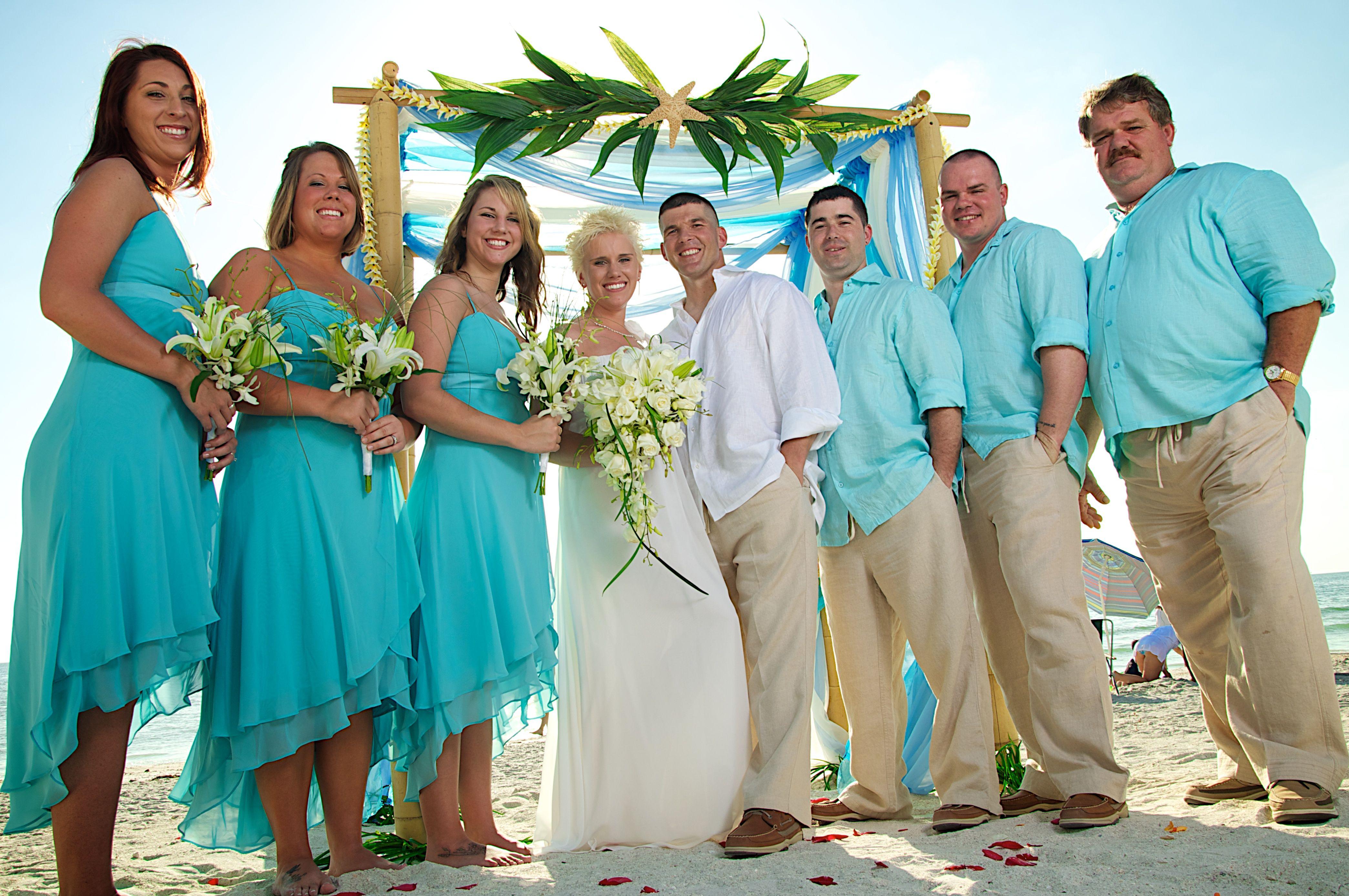 Aqua & carribean blue beach wedding Beach wedding attire