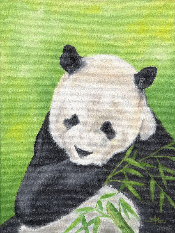 Panda Bear 12x16 Oil Painting By Painterplace On Etsy 95 00 For The Love Of Pandas Panda Art Animals Artwork Panda Bear