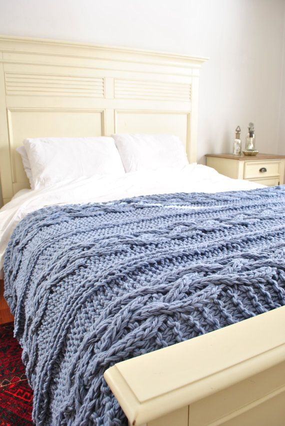 Knitting In Bed : Chunky cable knit throw blanket in light blue cabled wool