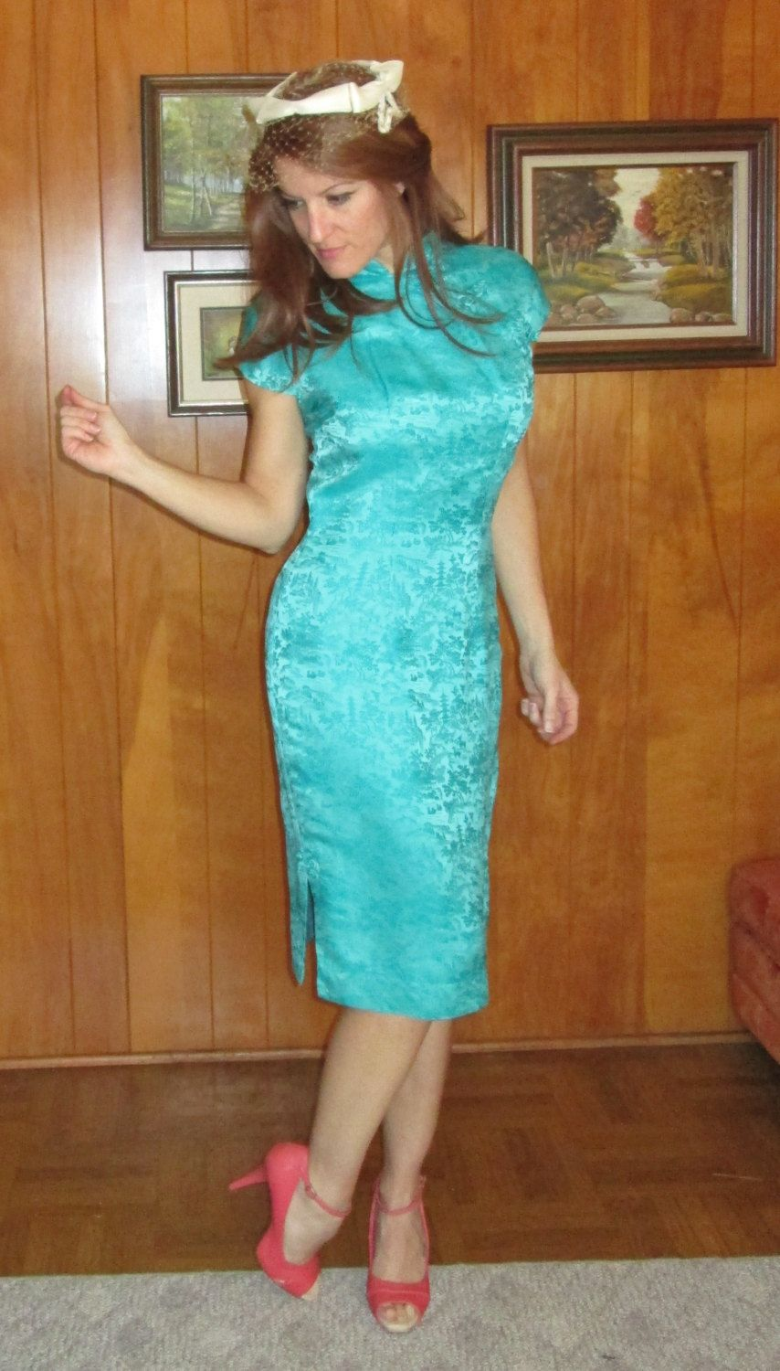 sz small Vintage Teal 1950\'s Asian Wiggle Rockabilly Cocktail dress ...