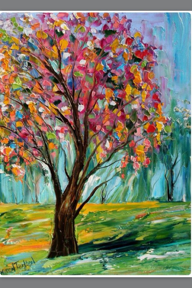 I Love This Simple Colorful Tree Painting So Cute Tree Art