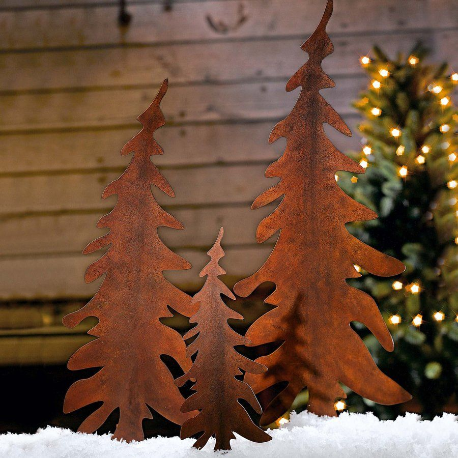 Stake Christmas Trees: 3 Piece Christmas Tree Garden Stake Set