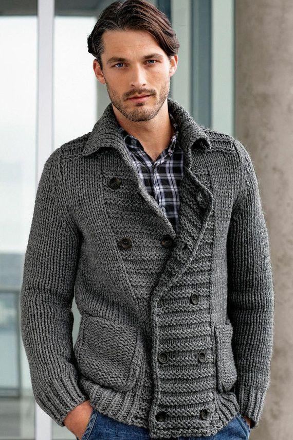 Men\'s hand knit cardigan 19A – KnitWearMasters   Rogelio   Pinterest ...