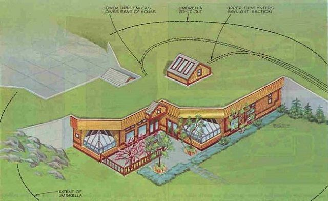 The Umbrella Home A Simple Underground House Design Underground Homes Earthship Home Earth Sheltered
