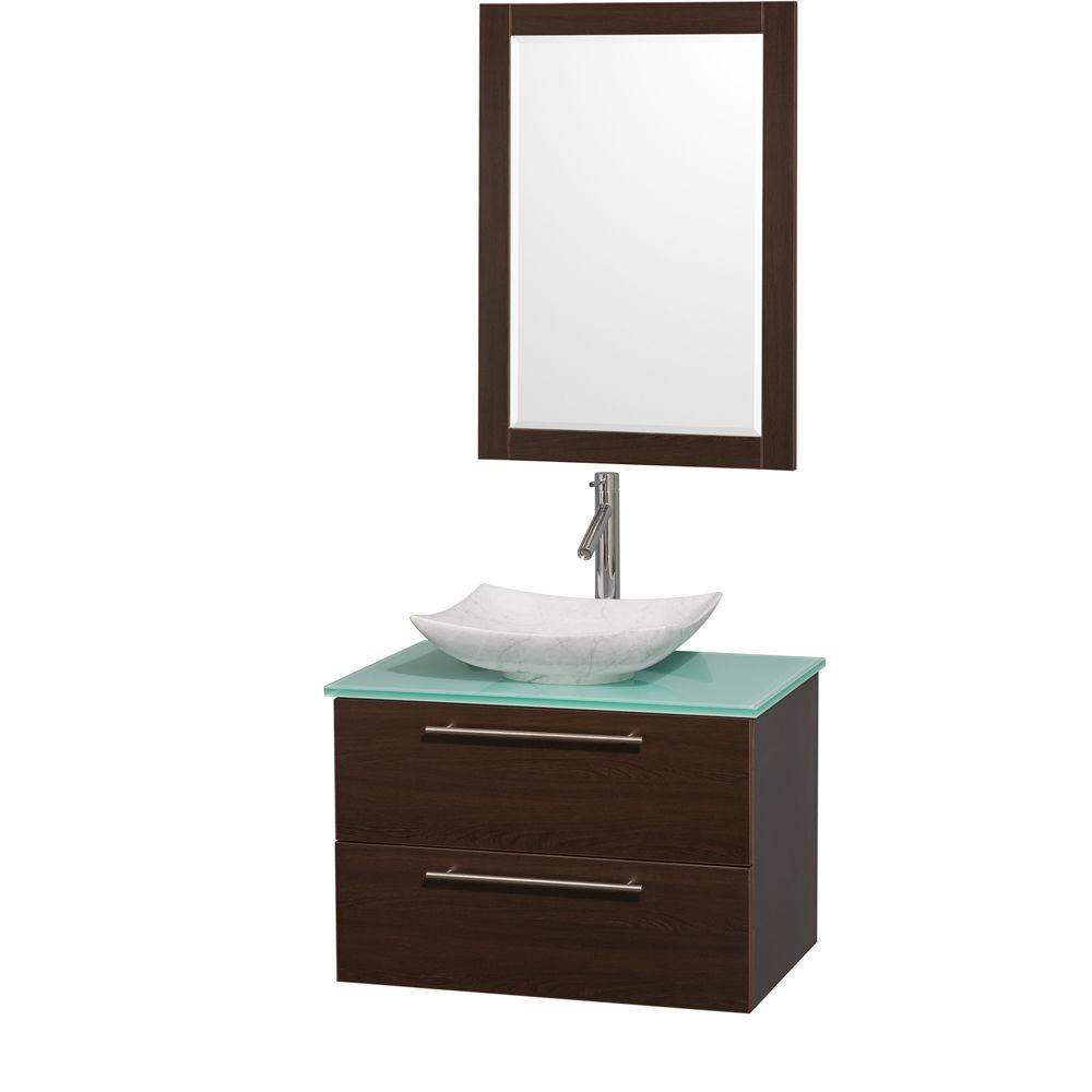 Wyndham Collection Amare 30 In Vanity In Espresso With Glass