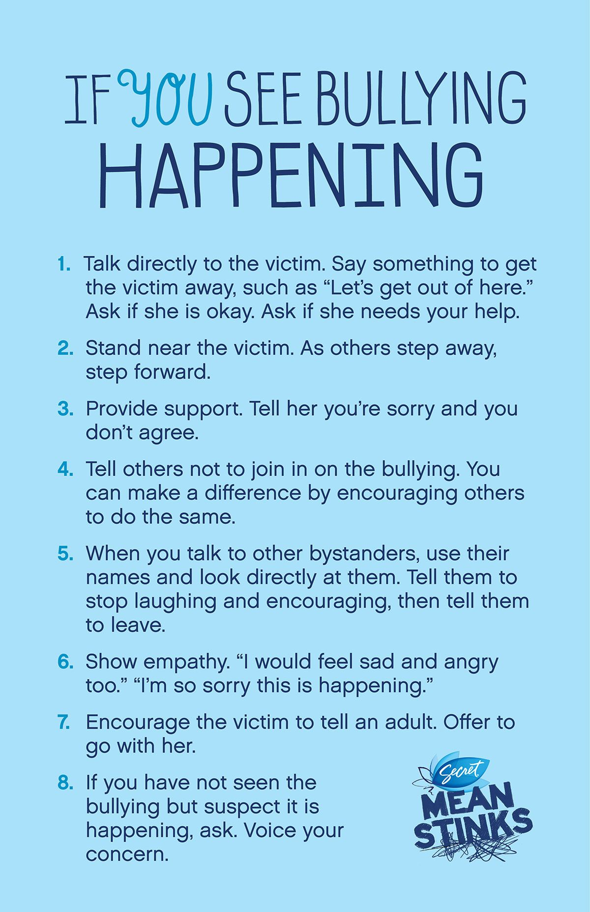 Poster From Meanstnks If You See Bullying Happening