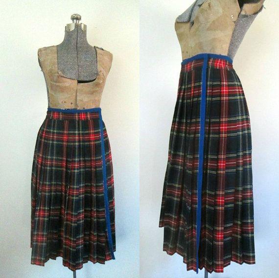 Plaid Pleated Wrap Skirt Vintage 1960s Saint by rileybellavintage, $74.00