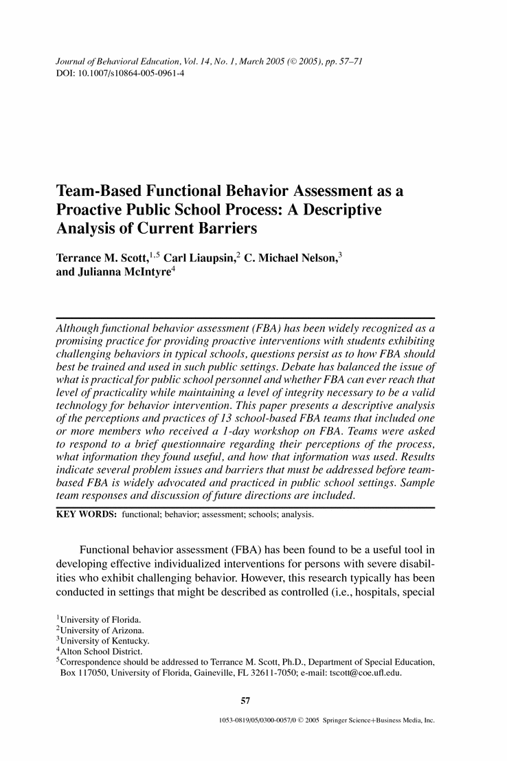 TeamBased Functional Behavior Assessment As A Proactive Public