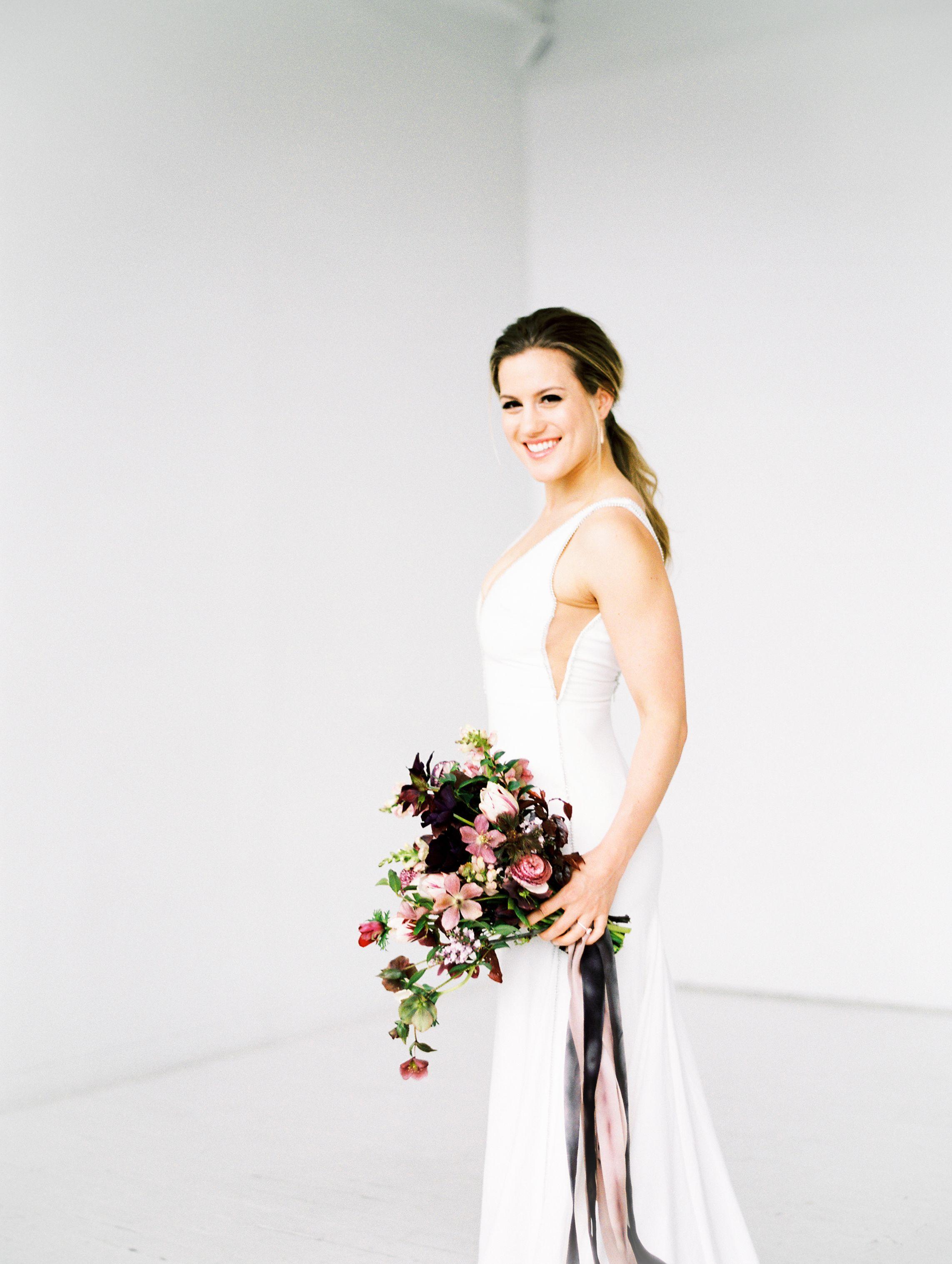 Crimson warehouse wedding inspiration romantic wedding dresses