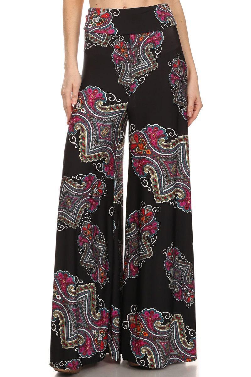 Magenta and Black Paisley Print Pants