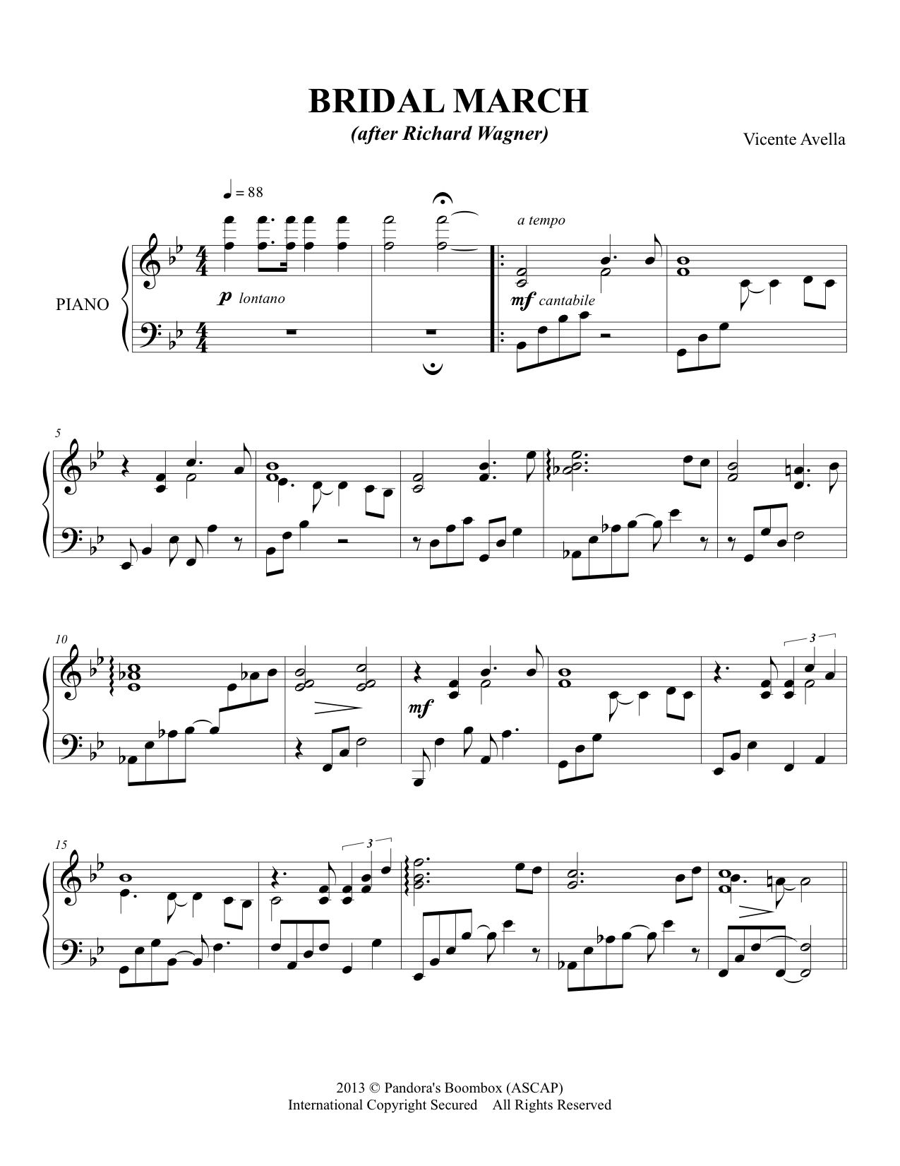 Sheet Music For Bridal March Variation