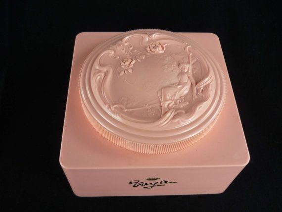 Vintage Pink Celluloid White Shoulders Powder Box by ChromaticWit, $9.99