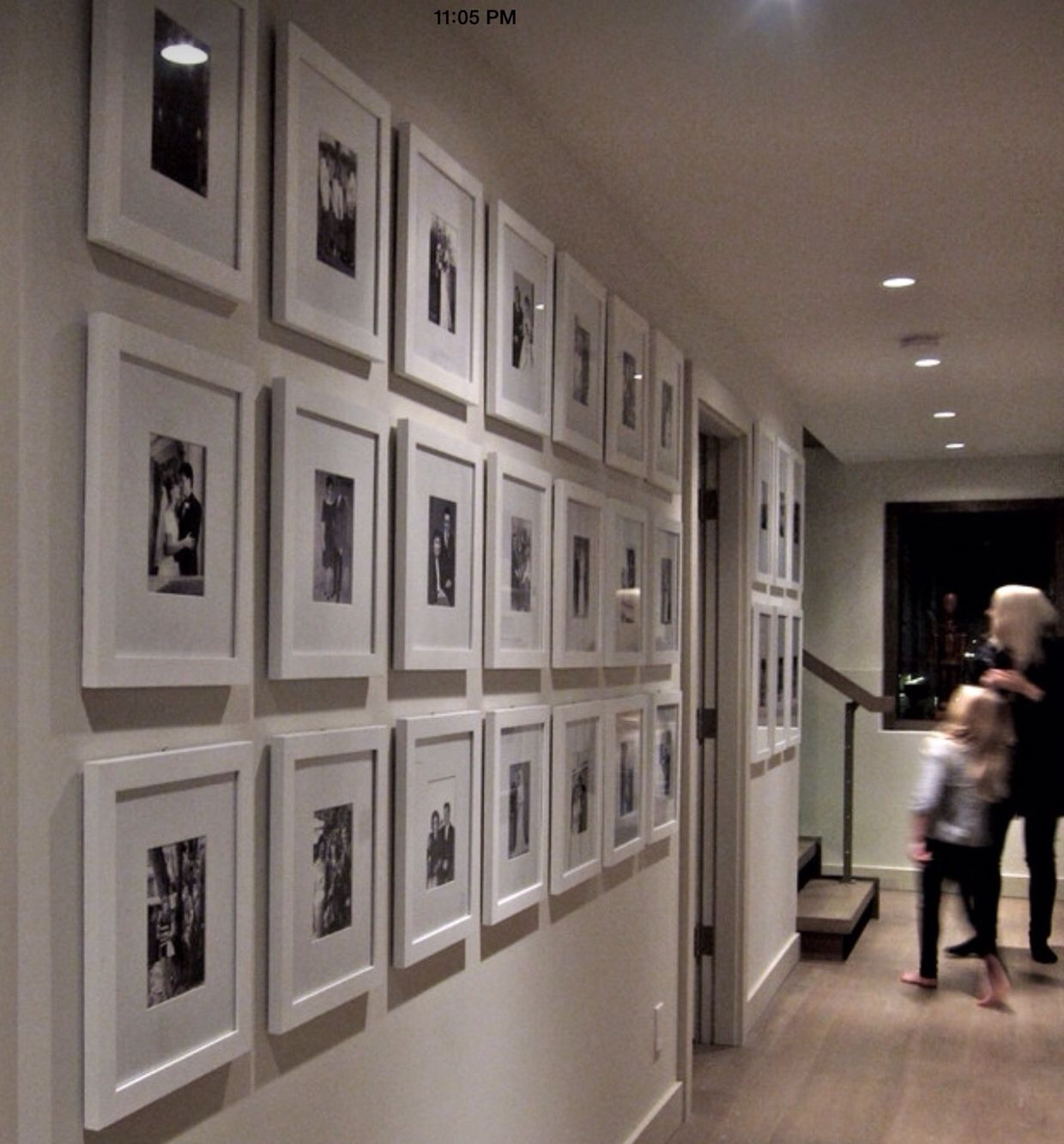 Wall Collage Of White Frames And White Mats Family Gallery Wall Family Photo Wall Hallway Decorating