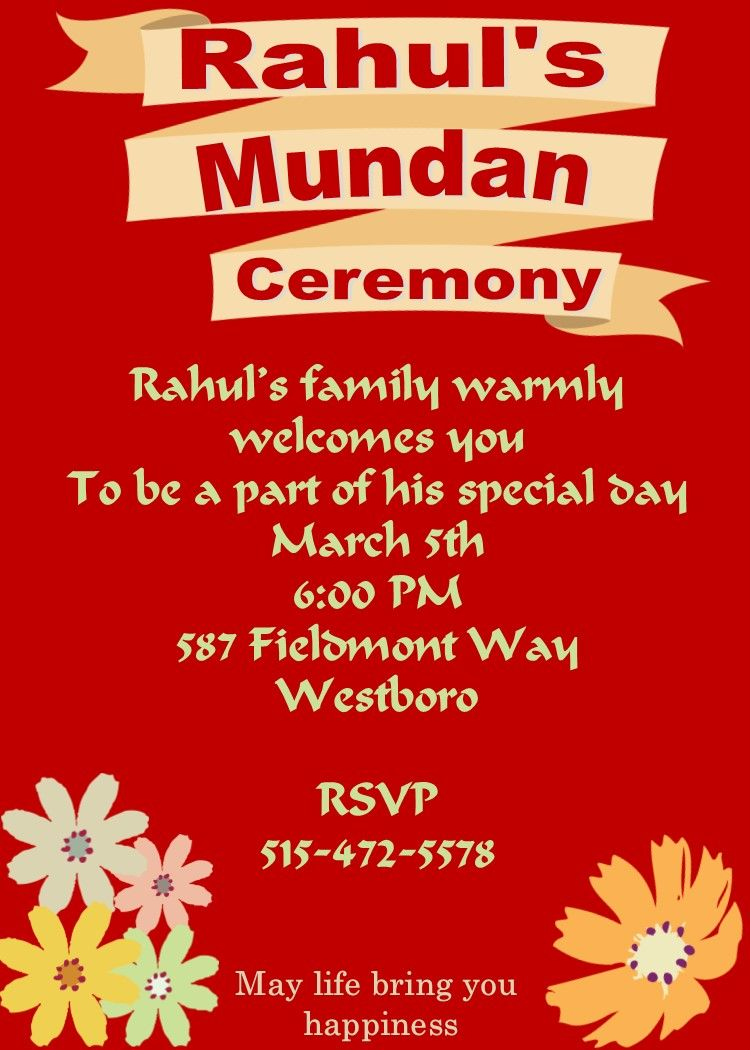 Mundan Or Chadakarana Invitations Invitation Card Design Invitation Card Maker Invitations