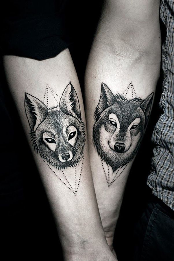 Wolf And Fox Couple Arm Tattoo Tattoos For Guys Wolf Tattoo Design Matching Couple Tattoos