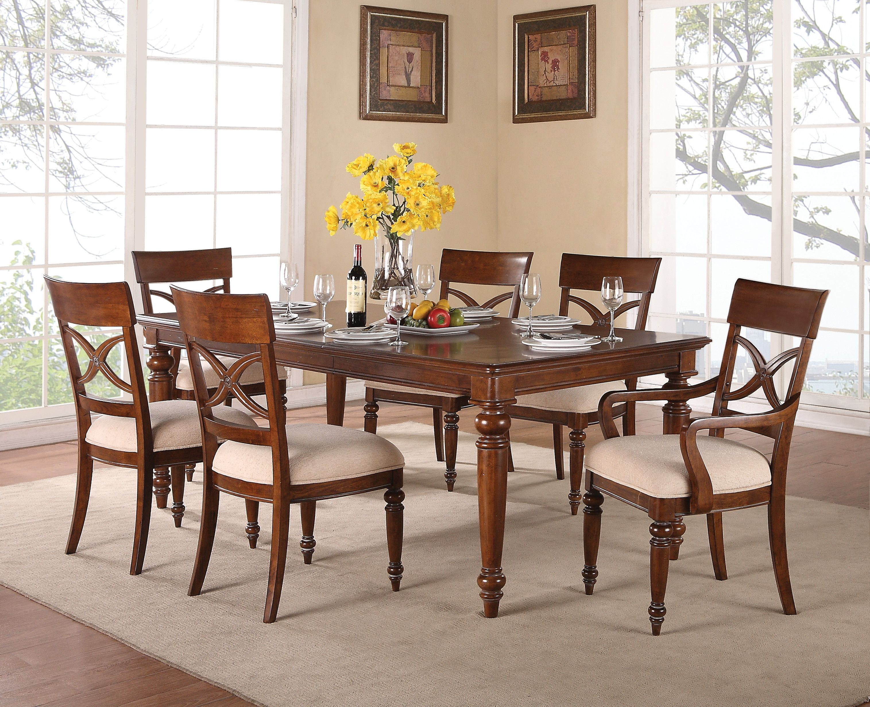 Flexsteel Wynwood American Heritage 7 Piece Dining Set W1809 830 Table 840 Armless Side Chair X4 841 Arm X2 Shopac