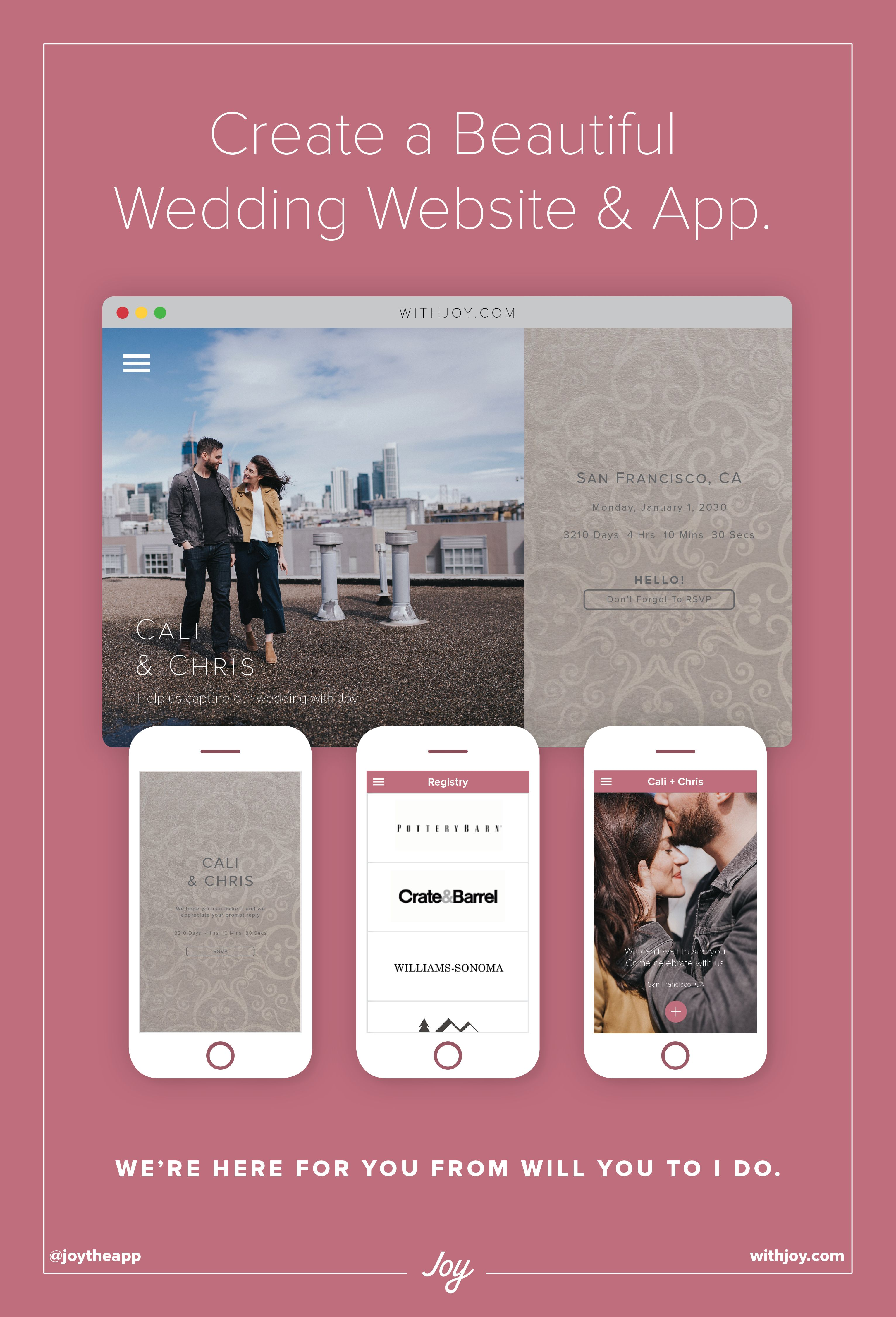 A free wedding website and app to invite guests, manages