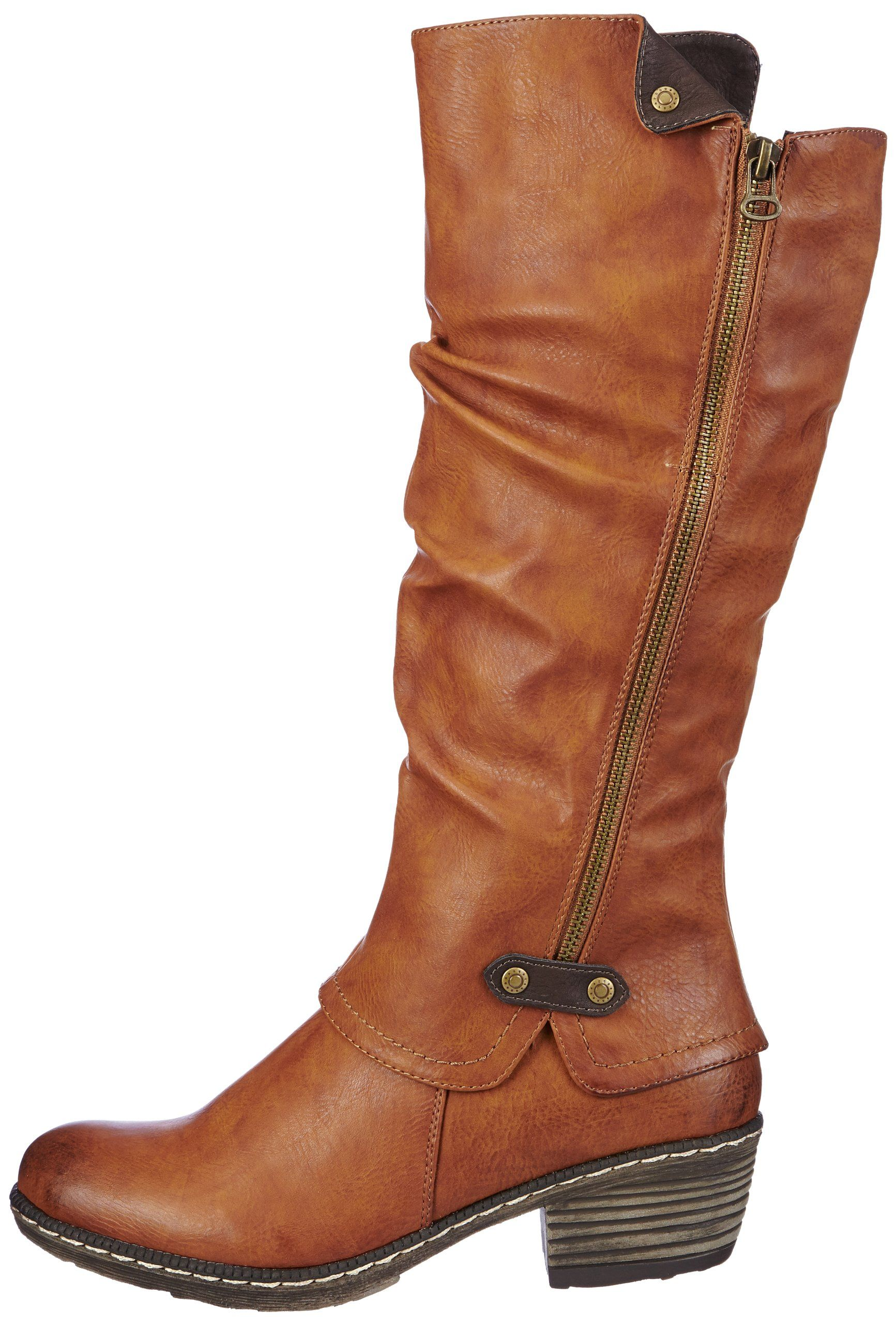 aff5be3db7537 Amazon.com: Rieker Women's Tan Brown Low Heel Tall Boot: Shoes ...