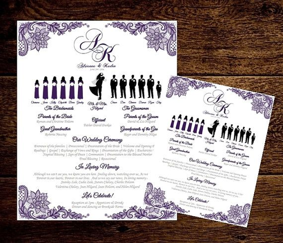 poster size keepsake wedding program silhouette wedding program