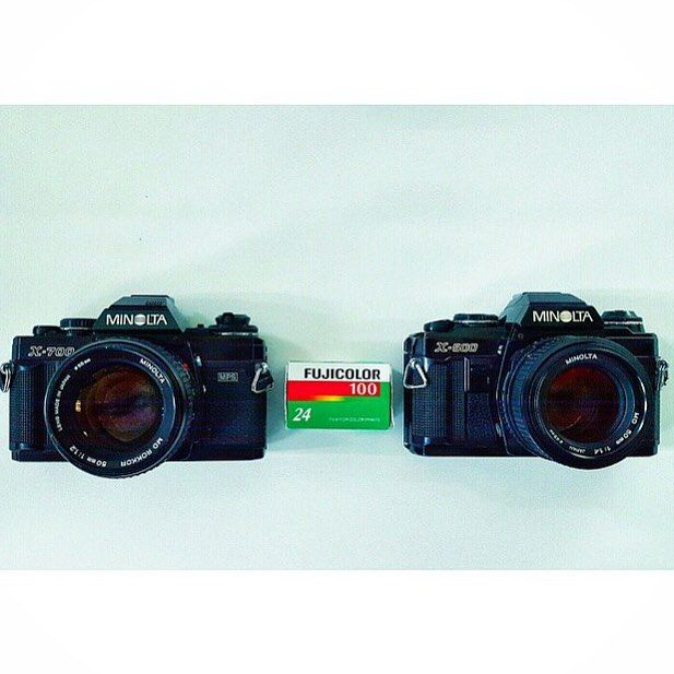 Friends from Japan. The Minolta X-700 and X-500 35mm film SLRs from @cuberootsam Gotta love a Rokkor.  #minolta #x700 #x500 #minoltax700 #rokkor #vintage #35mm #SLR #film #camera #vintagecamera #filmcamerasinternational #filmcamera