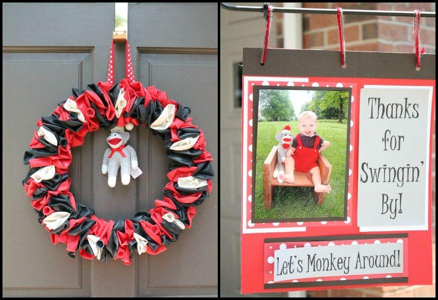 Sylas\'s DIY \'Sock Monkey\' 1st Birthday Party | Balloon wreath ...