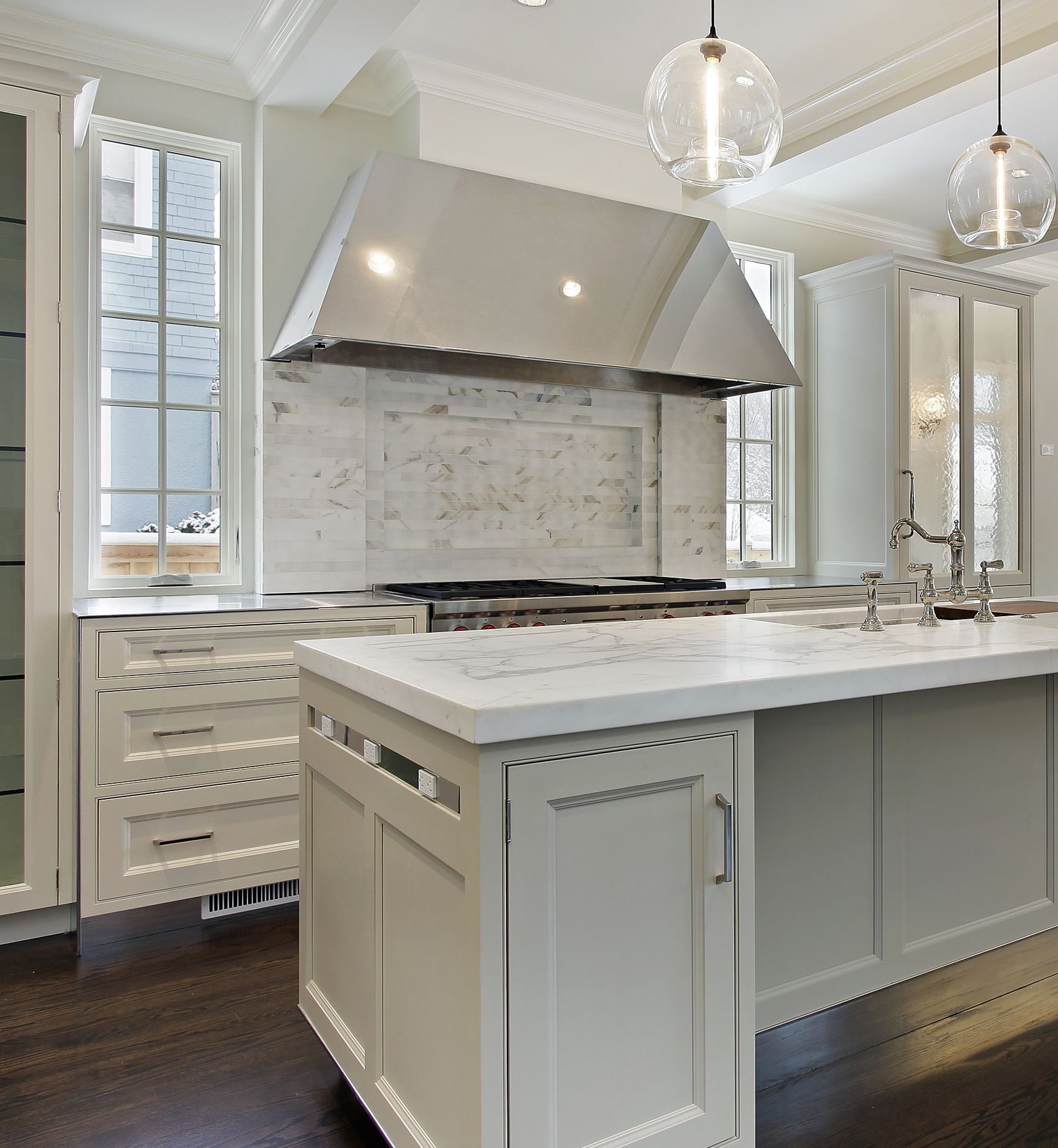 Prasada Kitchens And Fine Cabinetry: White Kitchen With Grey Island