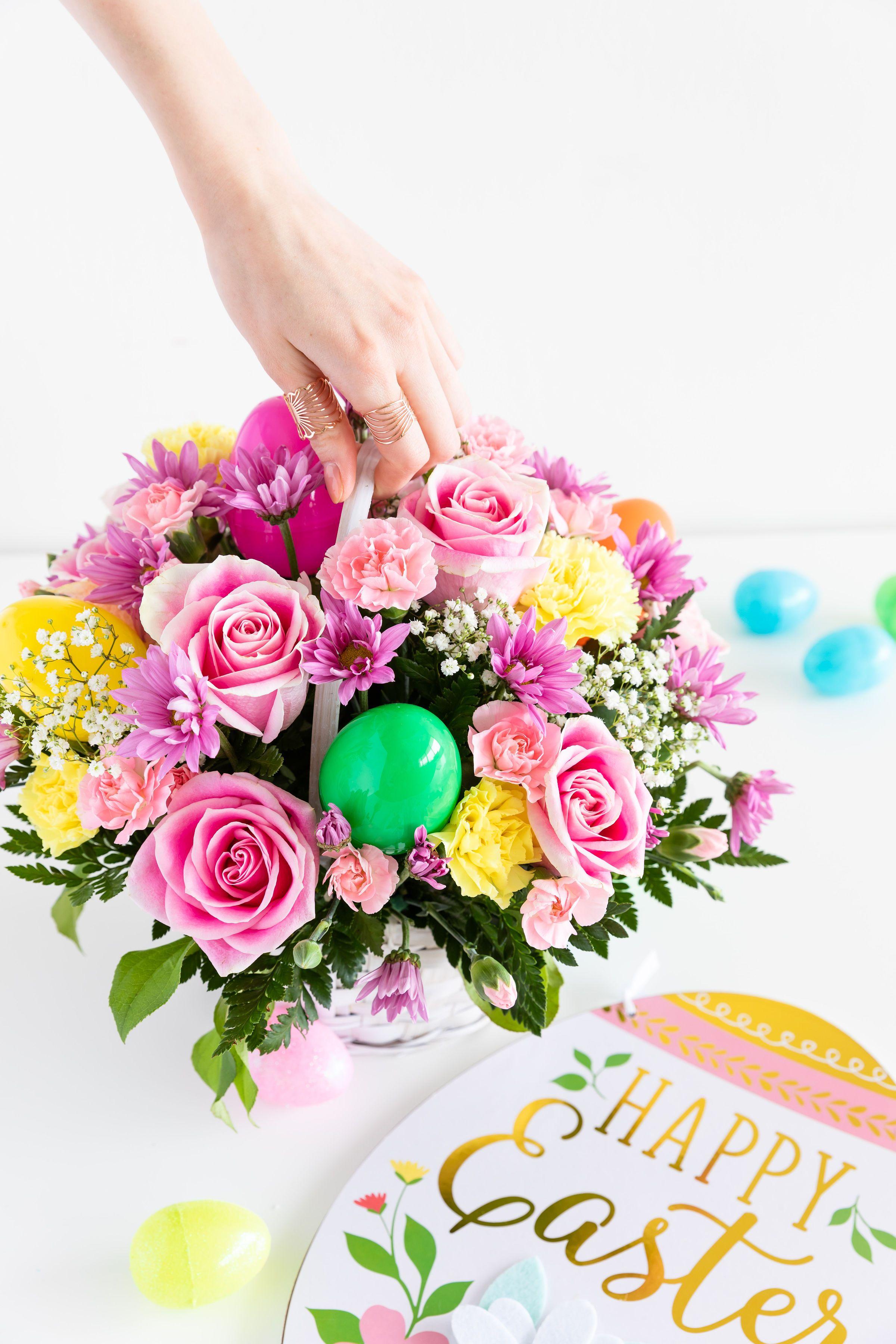 Easter Egg Basket Easter Flower Arrangements Easter Flowers Pink Easter Decor
