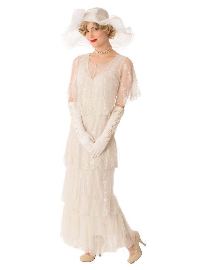 1920s style long white lace dress