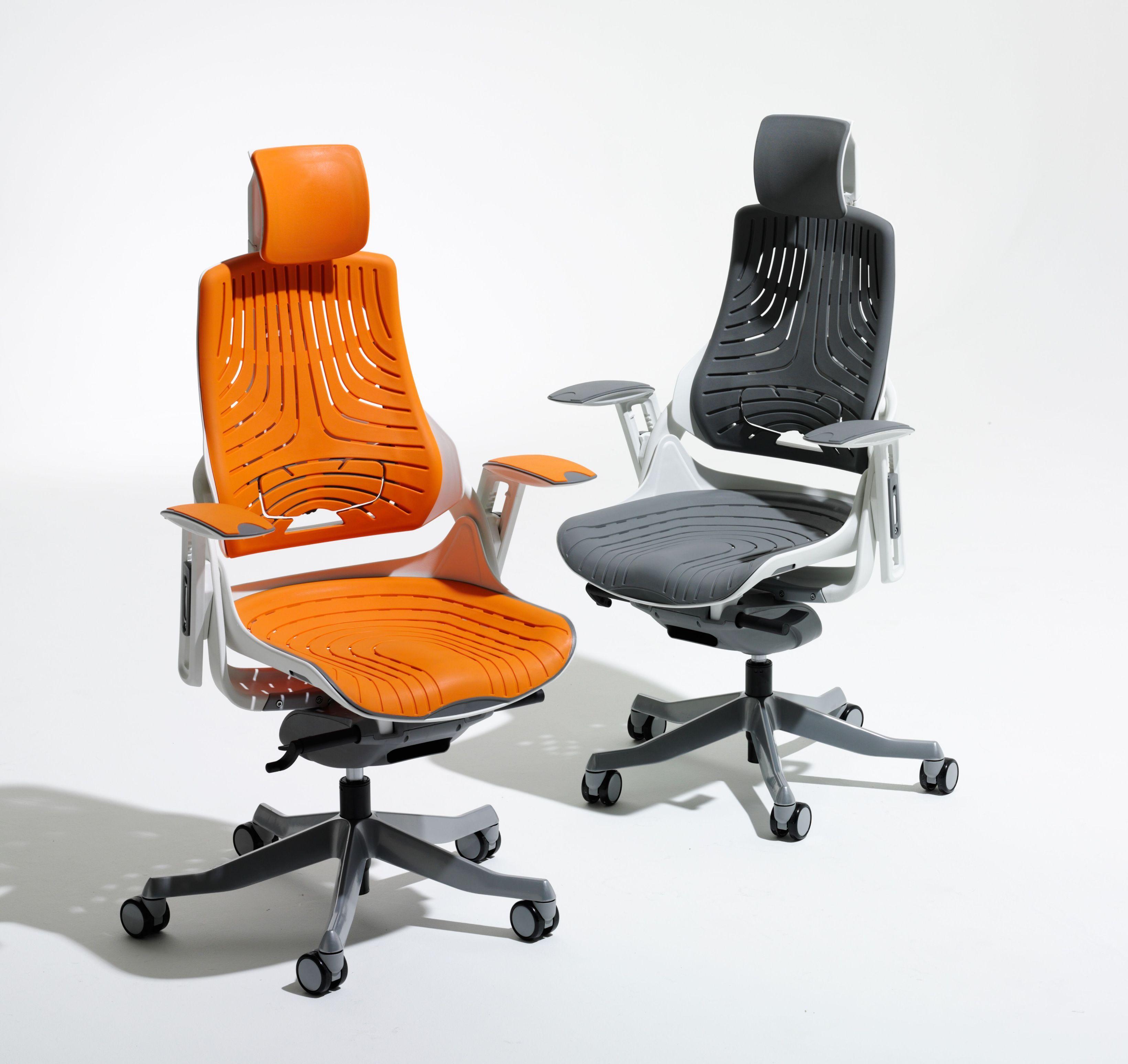 Elastomer Offce Chair Zoo Orange With Headrest