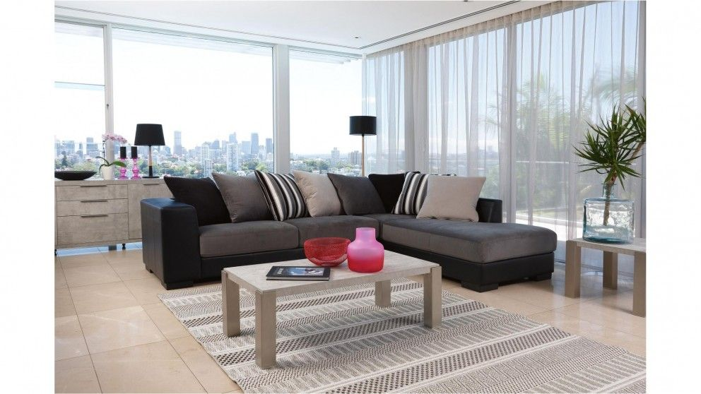 Harlem Fabric Corner Lounge with Chaise - Living Room - Furniture ...