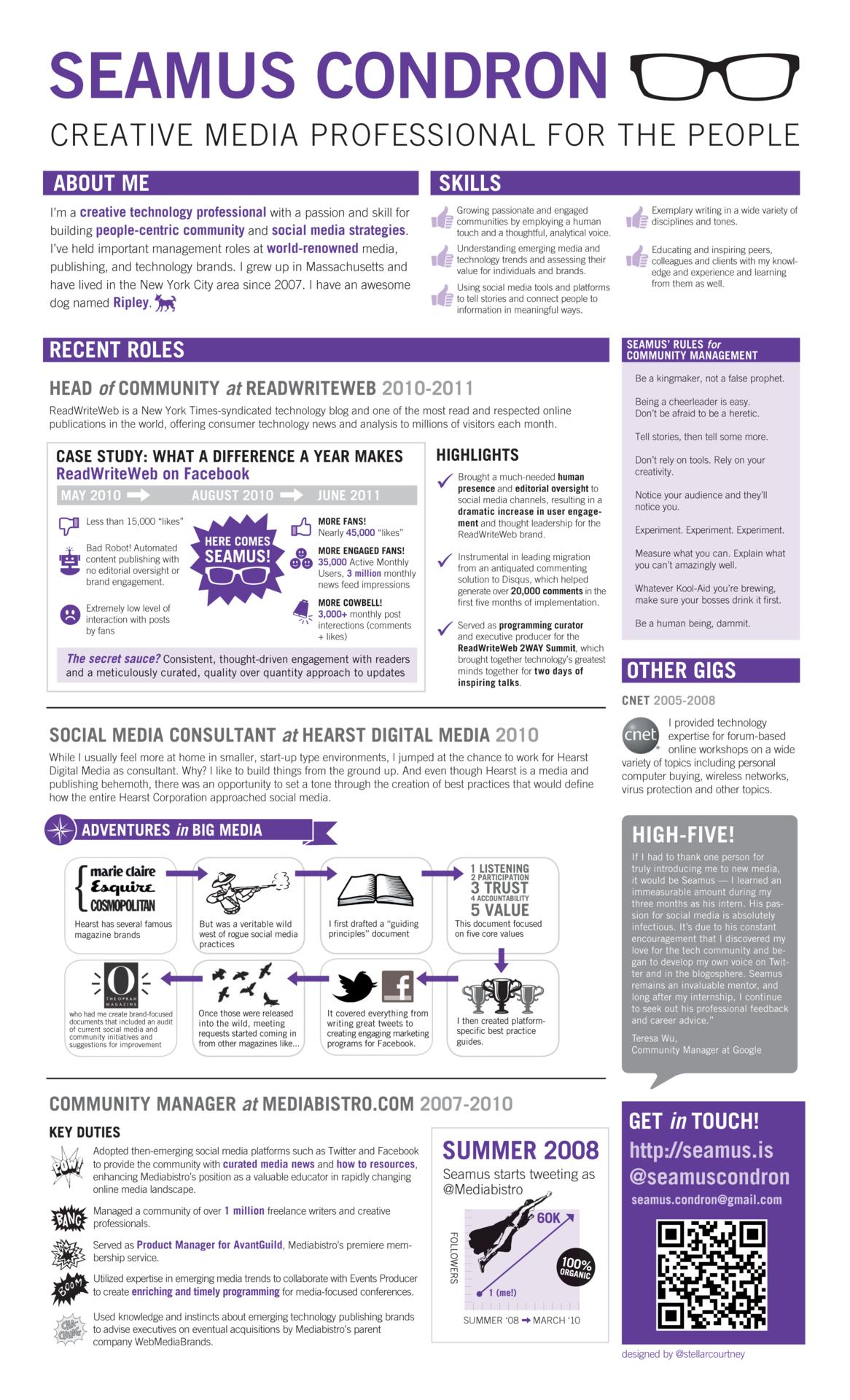 infographic cv for a social media expert