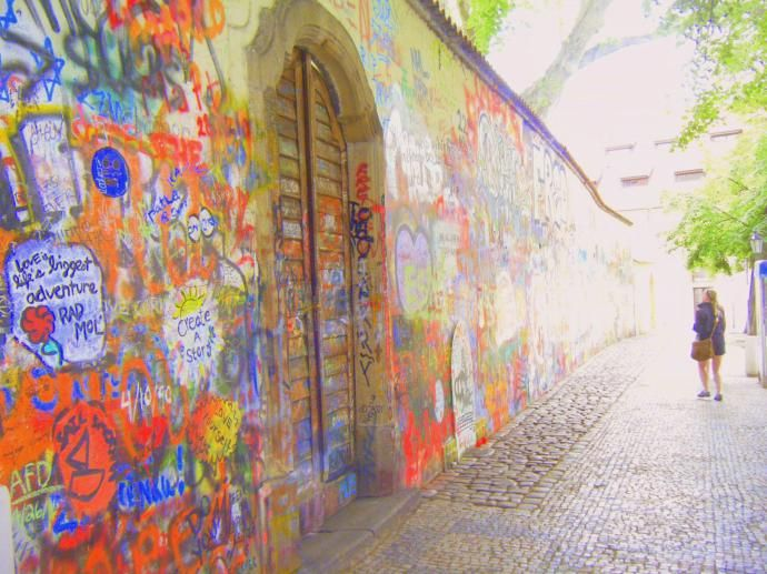 """""""Love is life's biggest adventure"""". The Lennon Wall in Prague."""